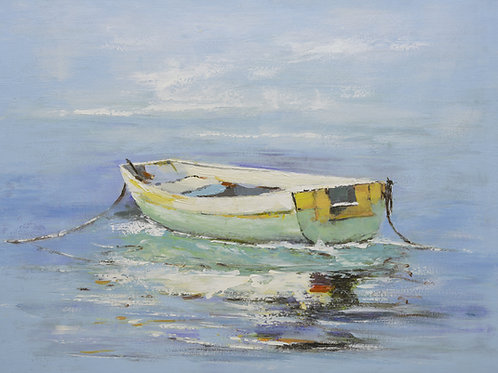 Studio art 36X48 large abstract oil painting of boat on water S-81912505