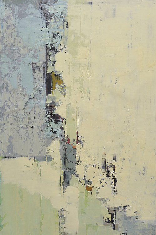24x36 abstract oil painting on canvas with gray blue and yellow 41951217