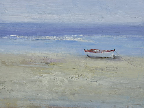 12x16 oil painting on canvas of white boat on beach 22010538