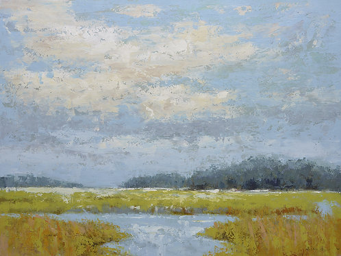 Studio art 36X48 large oil painting of marsh landscape S-81912601