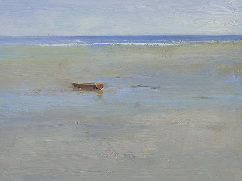 12x16 oil painting on canvas of little boat on beach 22010540