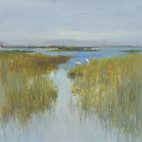 16x16 oil painting on canvas of marsh with egrets 22010503