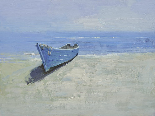 12x16 oil painting on canvas of little boat on beach 22010543