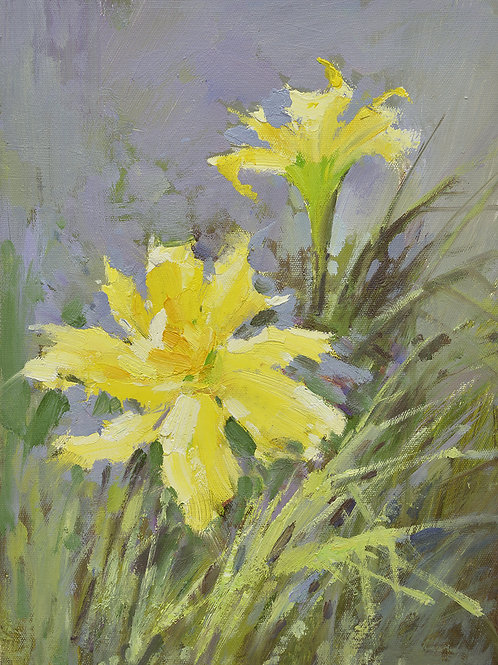 12x16 oil painting on canvas of yellow daylily flowers 22010522