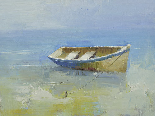 12x16 oil painting on canvas of boat on beach 22010537
