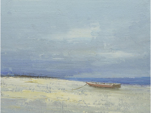 8x10 Modern oil painting of boat on beach 1181920