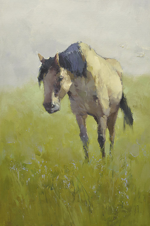 24x36 oil painting on canvas of horse on field 4199284