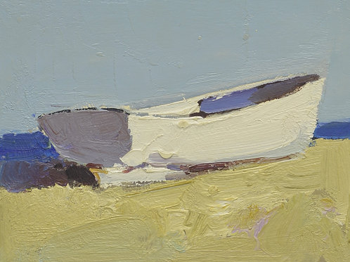 8x10 Modern oil painting of boat on beach 15095