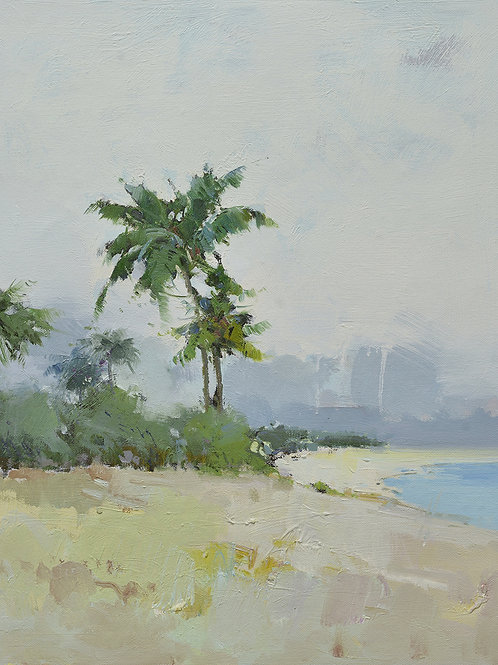 20x24 oil painting of modern beach landscape with palm tree 32071011