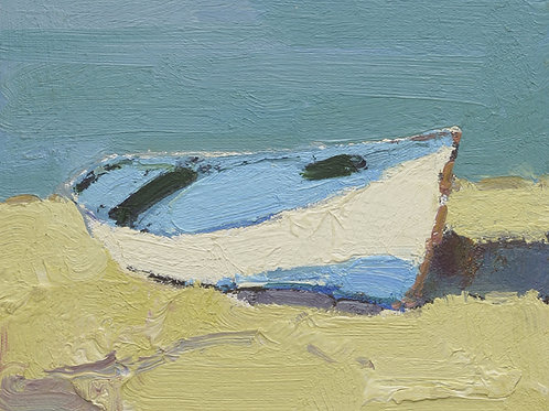 8x10 Modern oil painting of boat on beach 1182159