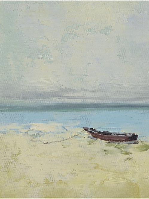 8x10 Modern oil painting of boat on beach 1181915