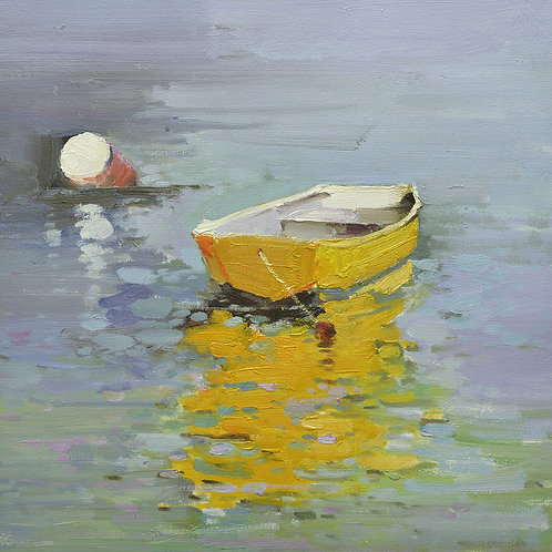 16x16 oil painting on canvas of little boat on water 22010502