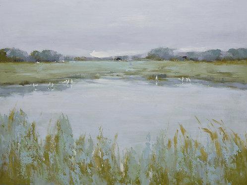 Studio art 36X48 large oil painting of marsh landscape S-81912517