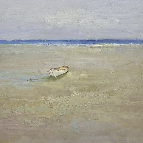 16x16 oil painting on canvas of white boat on beach 22010515
