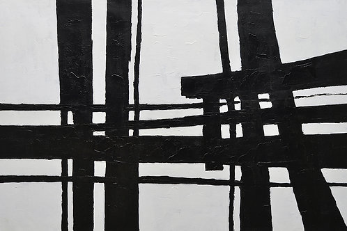 40x60 Large abstract black & white oil painting on canvas 91900609