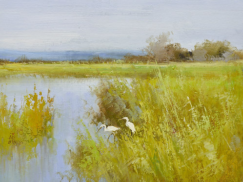 12x16 oil painting on canvas of egrets in marsh landscape 22010527