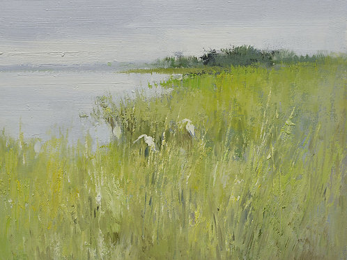 12x16 oil painting on canvas of egrets in marsh landscape 22010531