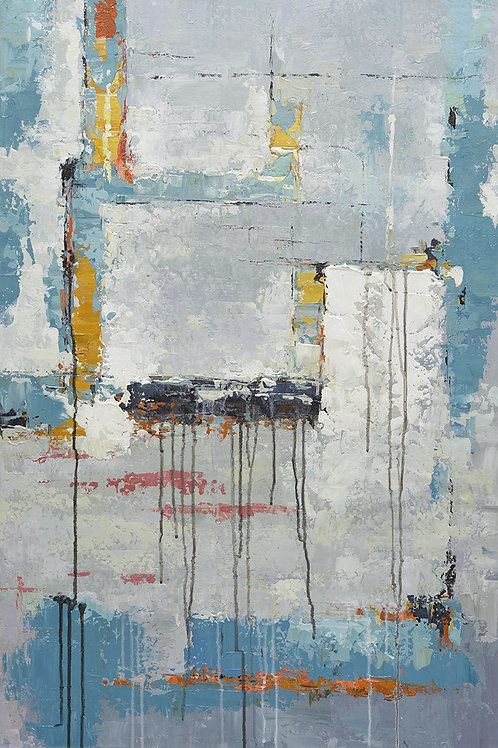 24x36 abstract oil painting on canvas with blues 419101402
