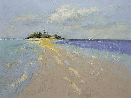 Studio art 36X48 largeoil painting of sandy beach S-81912701