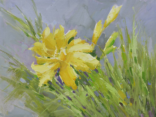 12x16 oil painting on canvas of yellow daylily flowers 22010523