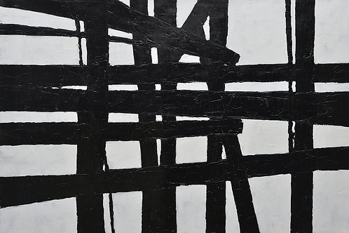 40x60 Large abstract black & white oil painting on canvas 91900608