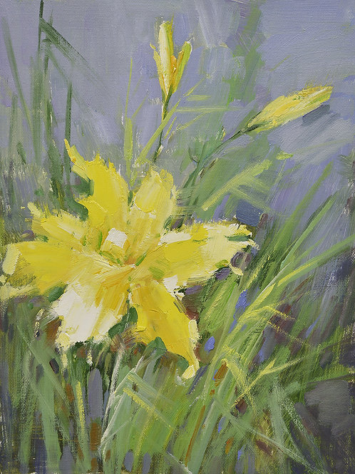 12x16 oil painting on canvas of yellow daylily flowers 22010524