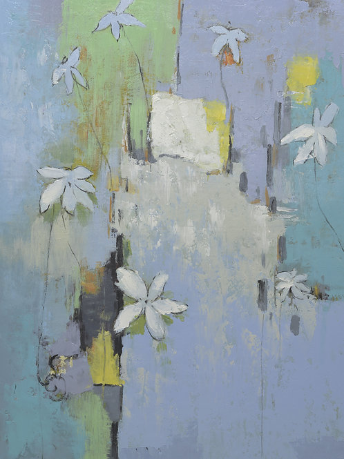 Studio Art 36X48 large abstract oil painting with white flowers S-81912509