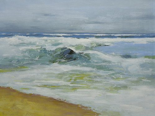 Studio art 36X48 large abstract oil painting of beach waves S-81912502