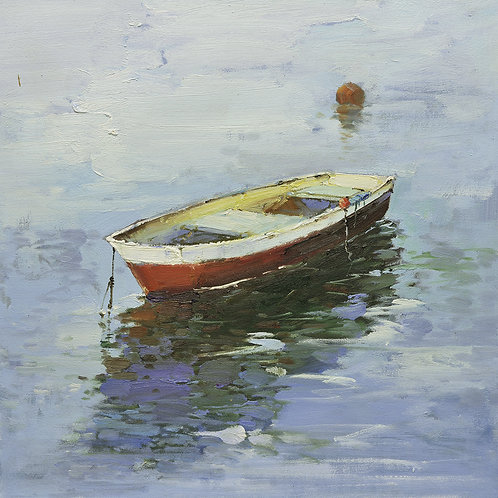16x16 oil painting on canvas of little red boat on water 22010514