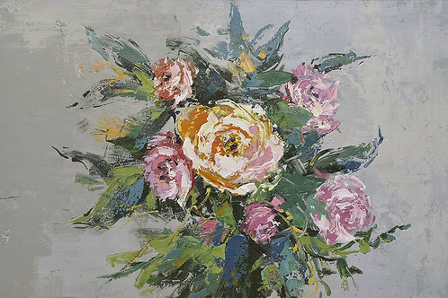 24x36 oil painting on canvas of pink flowers 41980205