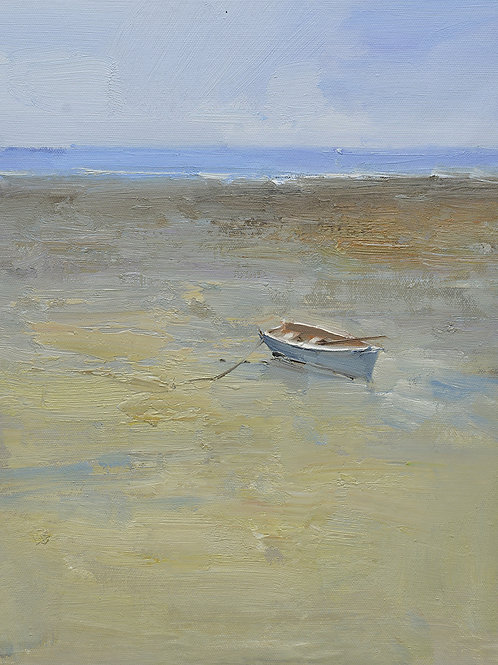 12x16 oil painting on canvas of little boat on beach 22010551