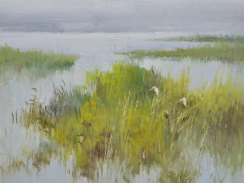 12x16 oil painting on canvas of egrets in marsh landscape 22010529