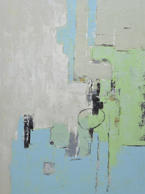 Studio art 36X48 large abstract oil painting on with gray green S-81912504
