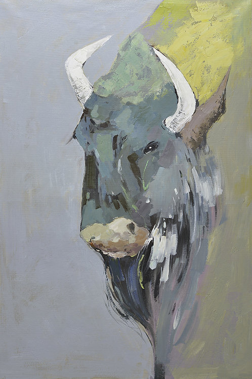 40x60 Large abstract oil painting of portrait of a bison 81941011