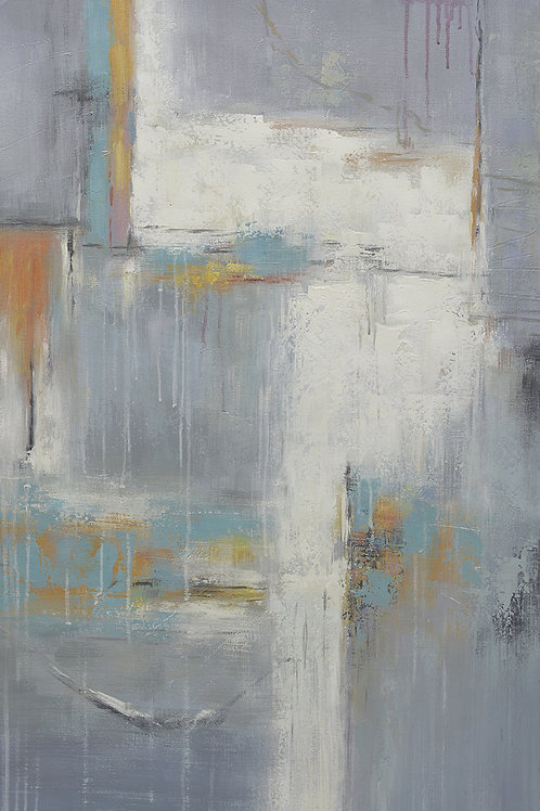 24x36 abstract oil painting on canvas of blue, gray & white 43196901