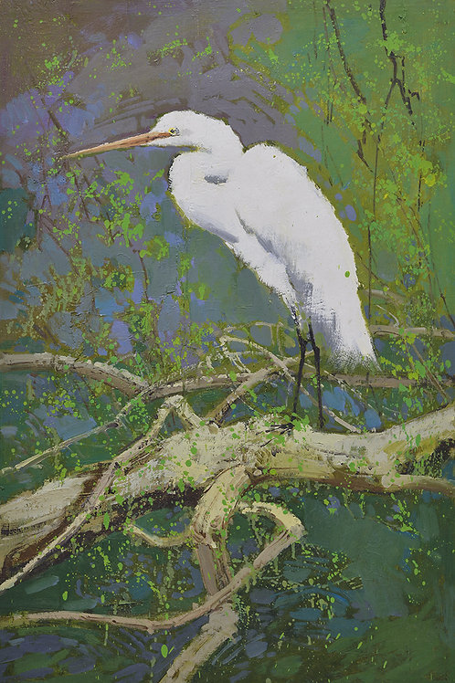 24x36 oil painting on canvas of white egret on tree branch landscape 4199282
