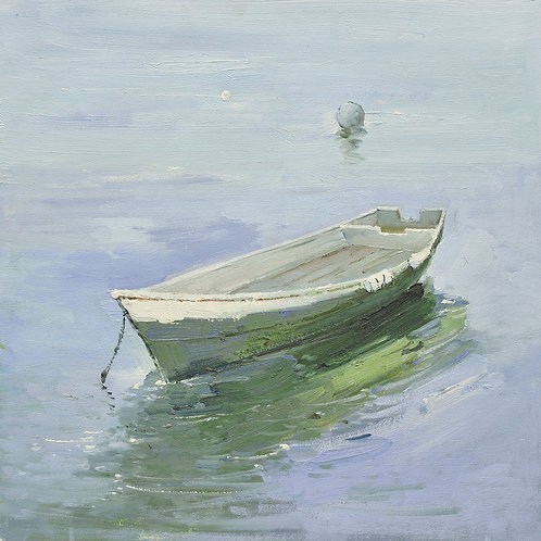 16x16 oil painting on canvas of green boat on water 22010501