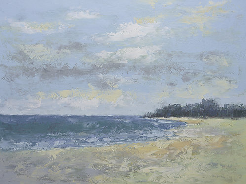 Studio art 36X48 largeoil painting of sandy beach S-81912608