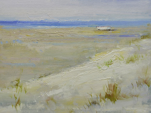 12x16 oil painting on canvas of little boat on beach 22010545