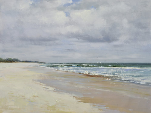 36x48 Modern oil painting of white sand beach 72071029