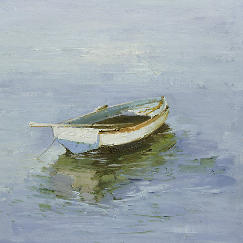 16x16 oil painting on canvas of little white boat on water 22010513