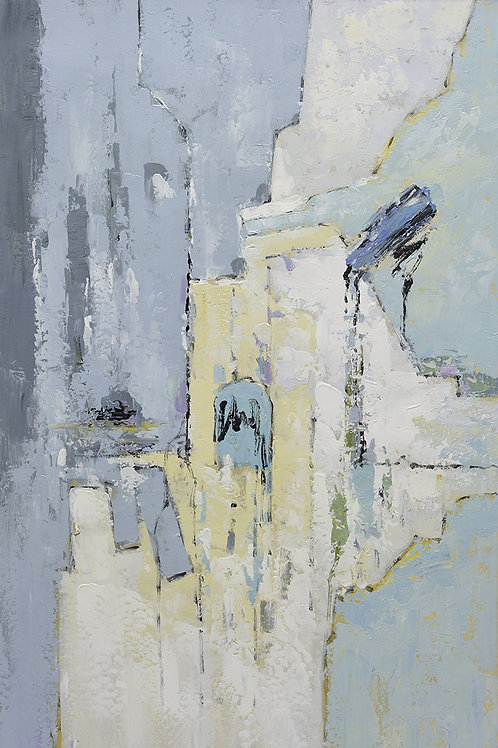 24x36 abstract oil painting on canvas with gray and light yellow 4199150202