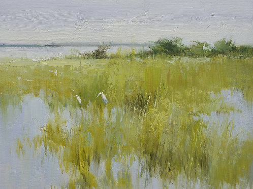 12x16 oil painting on canvas of egrets in marsh landscape 22010533