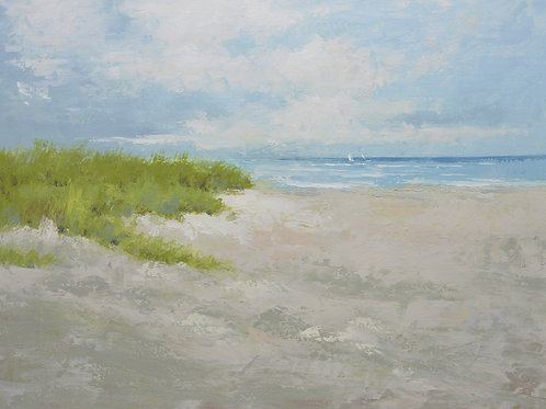 Studio Art 36X48 large oil painting of sandy beach S-81912519