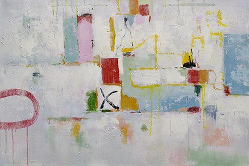 24x36 abstract oil painting on canvas with pinks 419101403