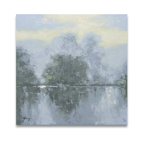 Studio art 35X35 large abstract gray landscape oil painting S-71912104