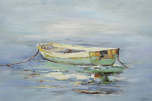 24x36 oil painting on canvas of green boat on water 42010105