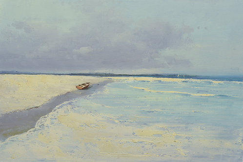 24x36 oil painting on canvas of boat on beach 41607507