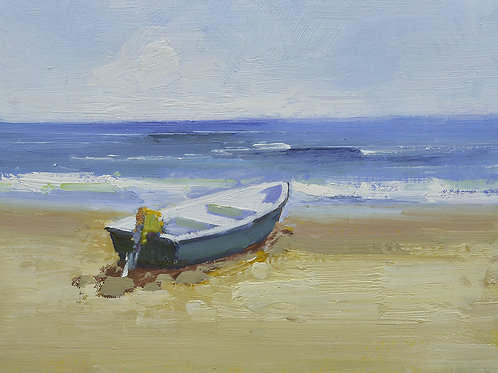 12x16 oil painting on canvas of little boat on beach 22010542