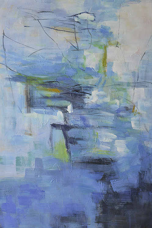 40x60 Large abstract oil painting in blue and green on canvas 7176704